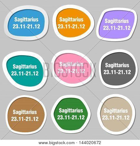 Sagittarius Symbols. Multicolored Paper Stickers. Vector