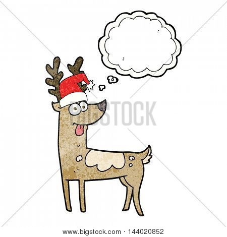 freehand drawn thought bubble textured cartoon crazy reindeer