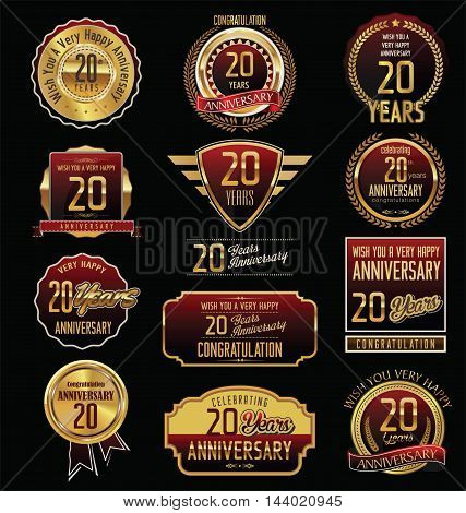 Anniversary 20 years retro vintage badges and labels vector