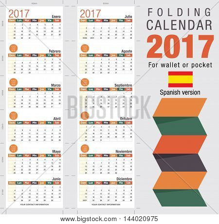 Useful foldable calendar 2017, ready for printing. Open size: 90mm x 320mm. Close size: 90mm x 55mm. File contains cutting & folding guides. Spanish version