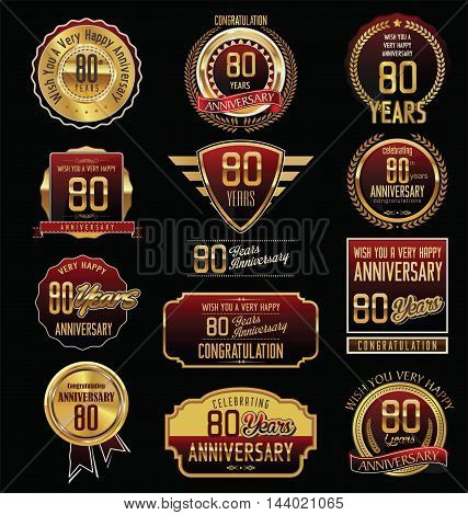 Anniversary 80 years retro vintage badges and labels vector