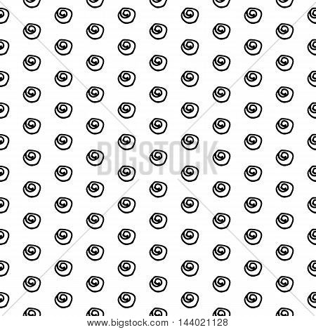 Cute black and white seamless pattern with hand drawn ink polka dots. Abstract vector background.
