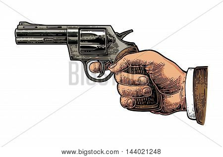 Hand holding revolver. Vector color engraving vintage illustrations. Isolated on white background.