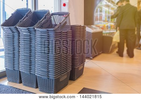 Empty Grey Shopping Basket In Department Store