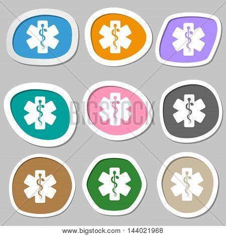 Medicine Symbols. Multicolored Paper Stickers. Vector