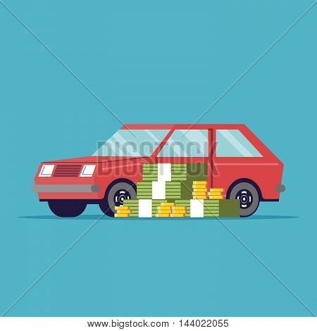 The poster of the car sale. A lot of money next to the machine. Red vehicle. Paper and metal money. Vector image in a flat style, isolated on a blue background