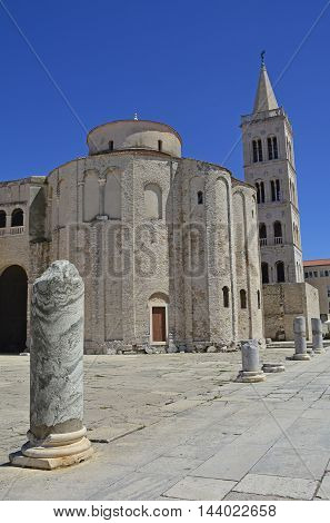 St Donatus Church the largest pre-Romanesque building in Croatia was constructed in the 9th and 10th centuries. Part of the Roman Forum can be seen in the foreground and the spire of 12th/13th century Romanesque St Anastasia's Cathedral can be seen behind