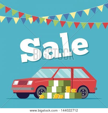 Promotional poster selling cars in the showroom executed in flat style. Money is next to the machine. Sale of new and vehicles. Discount on the purchase of a personal vehicle