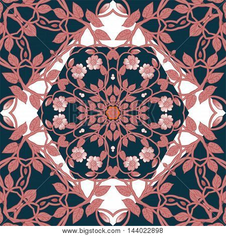 Floral kerchief. Bandana print or silk neck scarf with beautiful ornament from flowers. Vector illustration.