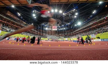 PRAGUE, CZECH REPUBLIC - MARCH 7, 2015: A view of the O2 Arena during the European Athletics Indoor Championship.