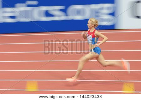 PRAGUE, CZECH REPUBLIC - MARCH 6, 2015: Anastasiya Bazdyreva (#705 Russia) competes in the women's 800m event of the European Athletics Indoor Championship.
