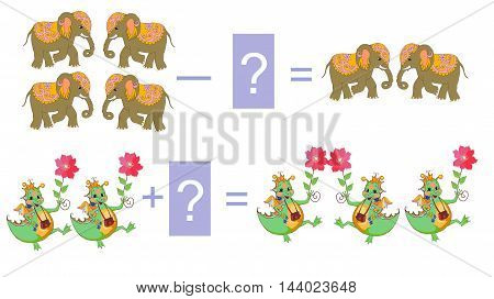 Educational game for children.Cartoon illustration of mathematical addition and subtraction. Examples with cute colorful elephants and dino. Vector image.
