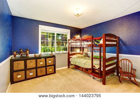 Young Adult Room With Dark Brown Wooden Two Level Bed