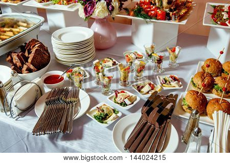 Catering service. Kebabs, salmon burgers and other tasty food.