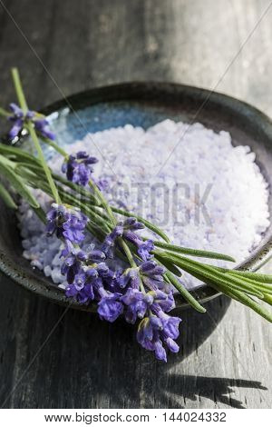 Lavender bath salts herbal body care product in dish with fresh flowers close up
