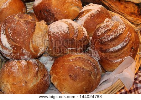 A Display of Freshly Baked Crusty Bread Loaves.