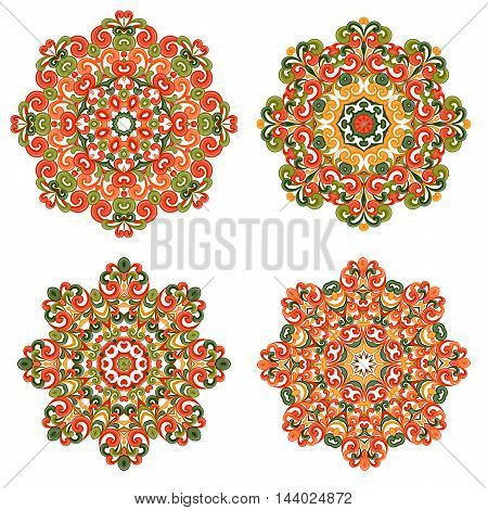 Colorful mandalas in oriental style. Set of round ethnic patterns isolated on white background. Traditional lace ornaments. Arabic, asian, islamic, indian motifs. Vector illustration.