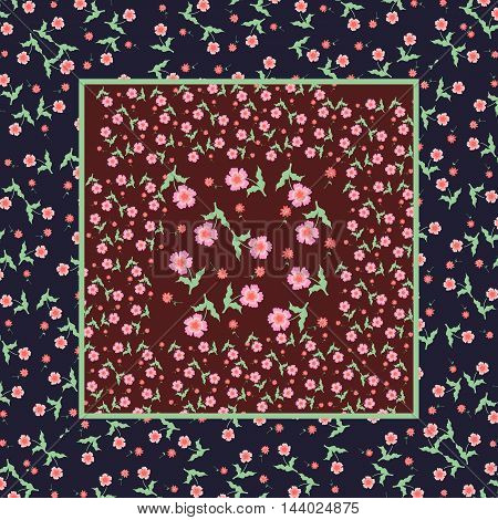 Vintage print bandana with pink flowers on a dark background. Vector illustration. Easy editable pattern.