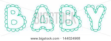 Baby lace word green cyan lettering line art vector