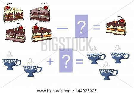 Educational game for children. Cartoon illustration of mathematical addition and subtraction. Vector image. Examples with cute colorful cakes and cups.