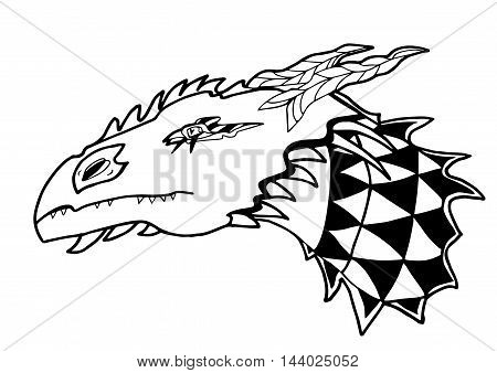 Dragon's head. Black and white contour lines isolated on white background. For prints, designs, clothes.