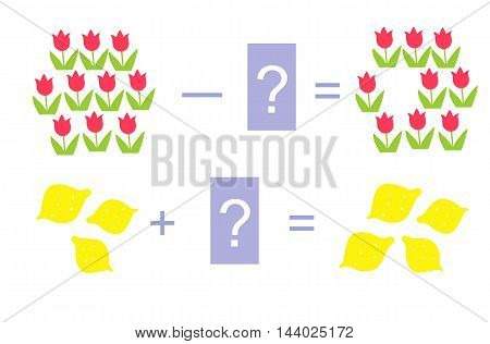 Educational game for children. Cartoon illustration of mathematical addition and subtraction. Vector image. Examples with cute colorful tulips and lemons.