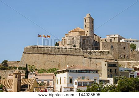 Ibiza Spain - June 3 2016: View of the cathedral of Santa Maria d'Eivissa at the top of the Dalt Vila (Upper Town) in Ibiza Town.