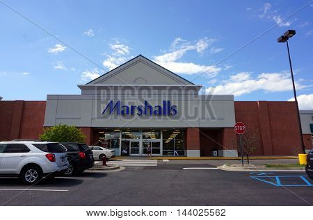PETOSKEY, MICHIGAN / UNITED STATES - AUGUST 1, 2016: The Marshalls store offers brand name clothing and merchandise at discount prices in Petoskey's Bear Creek Plaza.