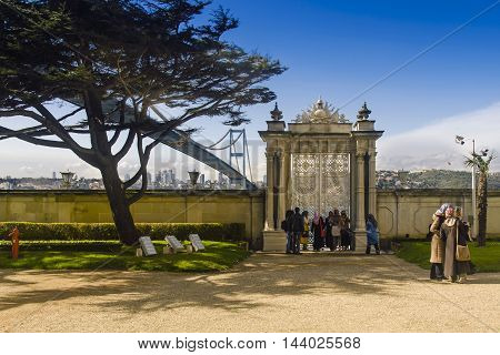 Istanbul Turkey - March 28 2015: Beylerbeyi Palace. Visitors watching the landscape palace gates. The Beylerbeyi Palace (Turkish: Beylerbeyi Sarayi) Beylerbeyi meaning