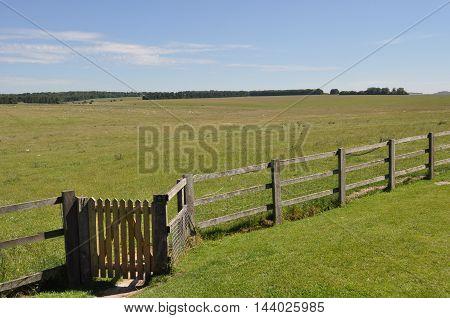 English countryside near Stonehenge in Salisbury, England