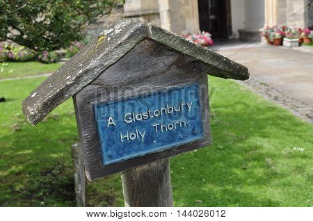 Glastonbury Holy Thorn sign at Glastonbury's Church of John the Baptist