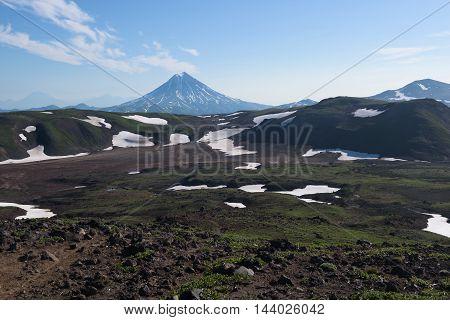 Top of Vilyuchinskaya volcano viewed from Gorely Volcano, Kamchatka, Russia