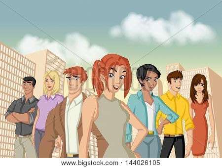 Group of business cartoon young people in the city