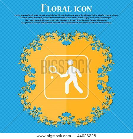 Tennis Player Icon. Floral Flat Design On A Blue Abstract Background With Place For Your Text. Vecto