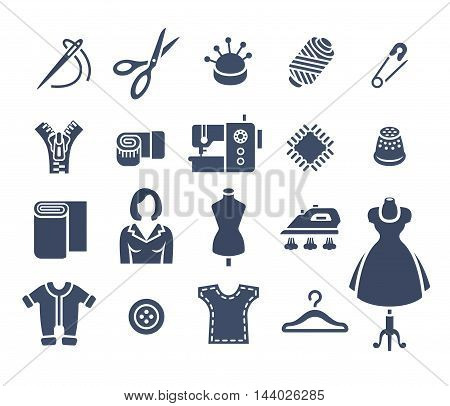 Sewing icons flat vector silhouettes set. Tools and accessories for tailoring and needlework. Handmade clothes atelier symbols. Dressmaker instruments kit. Seamstress with her work equipment