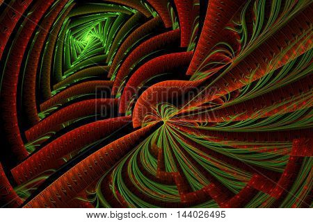 Colorful Abstract with selective focus dramatic shadows and zig zag pattern