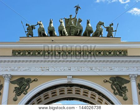 The triumphal arch of the General staff in Saint Petersburg. Russia.