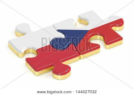 Czech Republic and Poland puzzles from flags 3D rendering