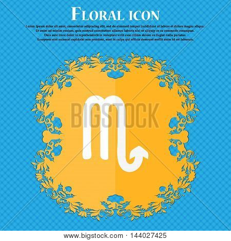 Scorpio Icon. Floral Flat Design On A Blue Abstract Background With Place For Your Text. Vector