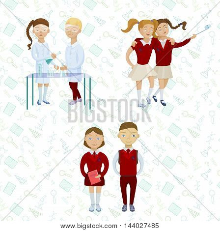 School kids set. Cartoon characters set. Puplils in uniform taking selfie and at chemistry lab.