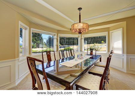 View Of Large Dining Table For Eight Person