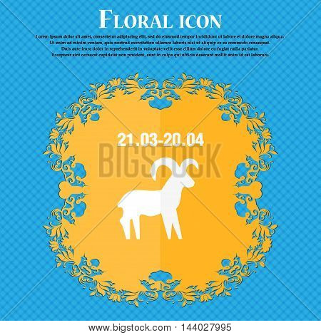 Decorative Zodiac Aries Icon. Floral Flat Design On A Blue Abstract Background With Place For Your T