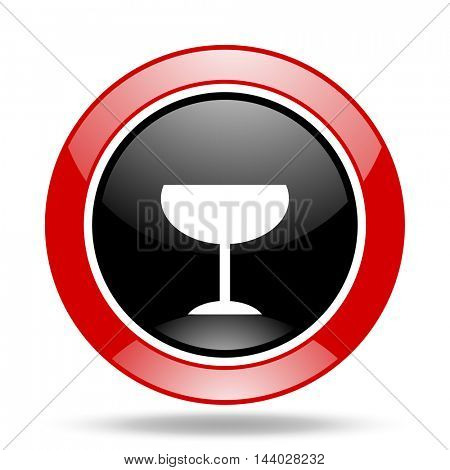 alcohol  round glossy red and black web icon