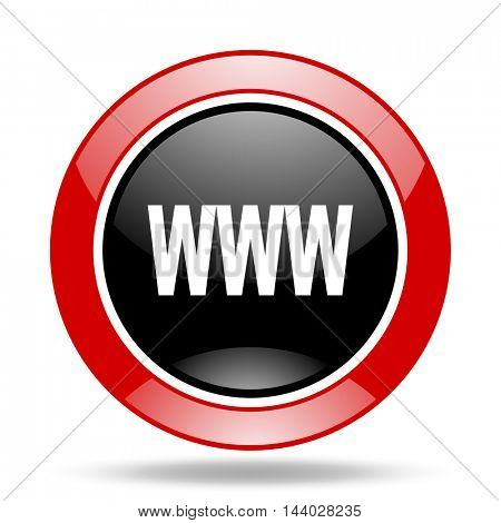 www round glossy red and black web icon