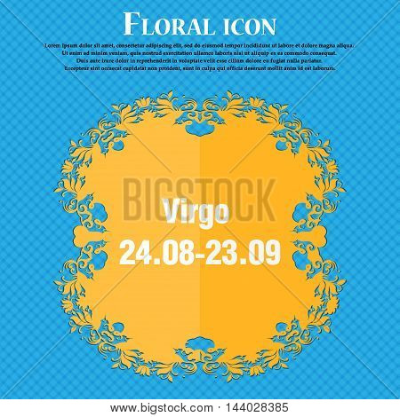 Virgo Icon. Floral Flat Design On A Blue Abstract Background With Place For Your Text. Vector
