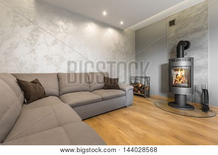 Living Room With Decorative Wall Plaster Idea
