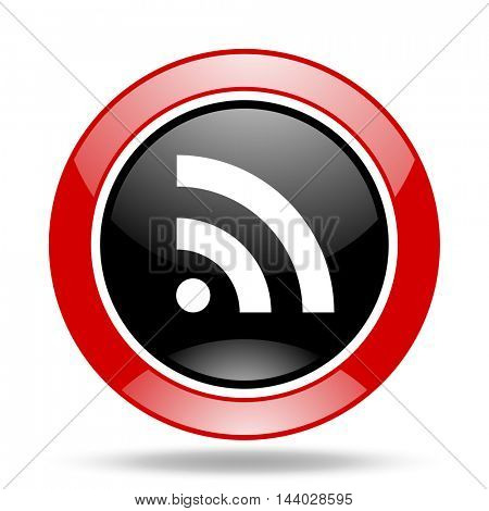 rss round glossy red and black web icon