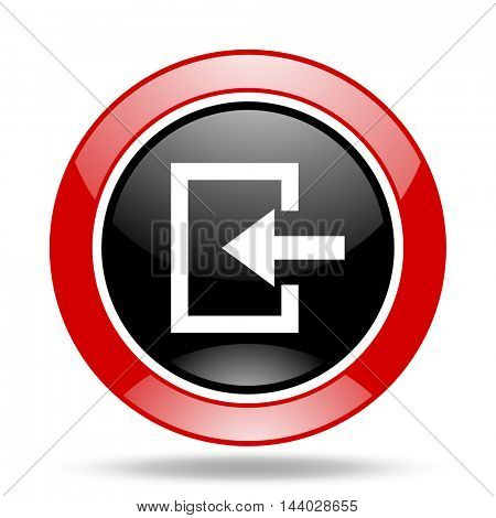 enter round glossy red and black web icon