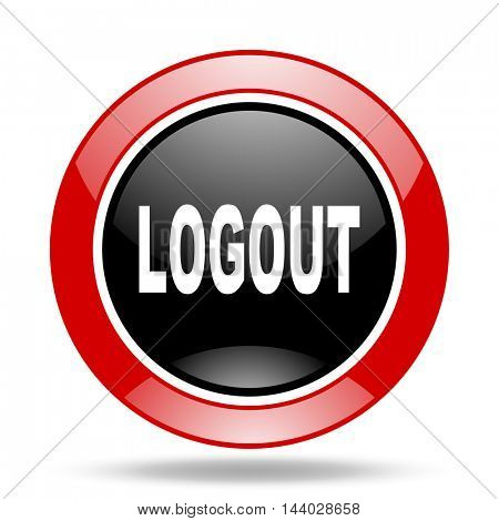 logout round glossy red and black web icon