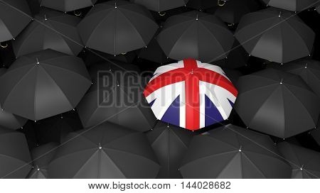 3D rendering of umbrella background with one covered in British flag